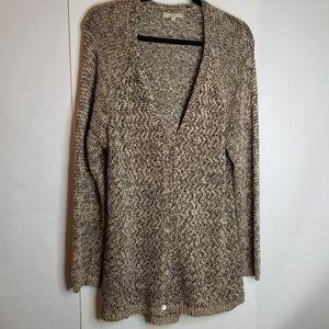 Joan Vass Studio Sz XL Tan & Black Knit Cardigan
